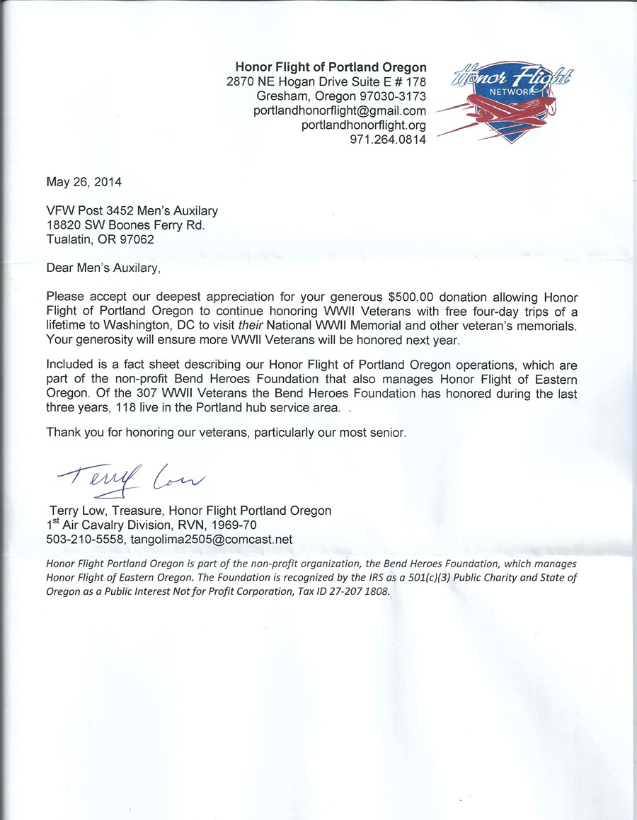 Thank You Letter Tualatin Vfw Auxiliary